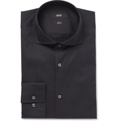 Hugo Boss - Blue Jason Slim-Fit Cutaway-Collar Stretch Cotton-Blend Shirt