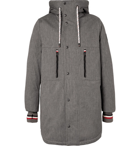 Faux Shearling-lined Cotton-blend Twill Down Coat - Gray