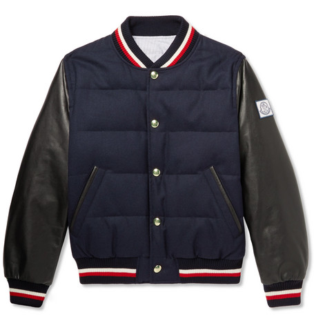 e5c4fb41c Moncler Gamme Bleu - Quilted Wool and Leather Down Bomber Jacket