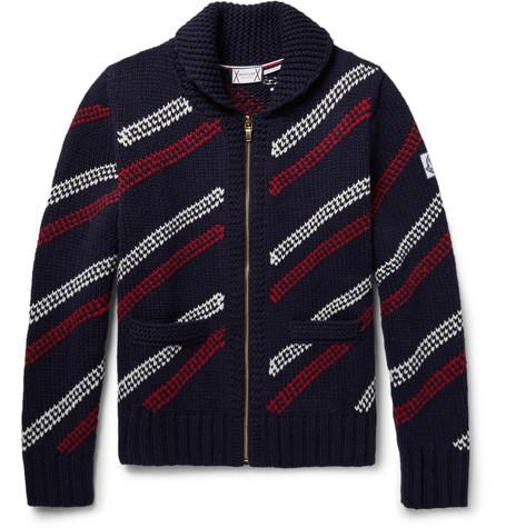 876cbddc2fb4 Moncler Gamme Bleu - Jacquard-Knit Wool Zip-Up Cardigan