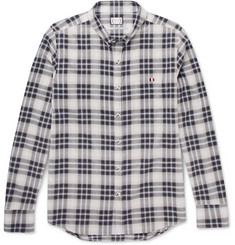 Moncler Gamme Bleu Button-Down Collar Checked Herringbone Cotton Shirt