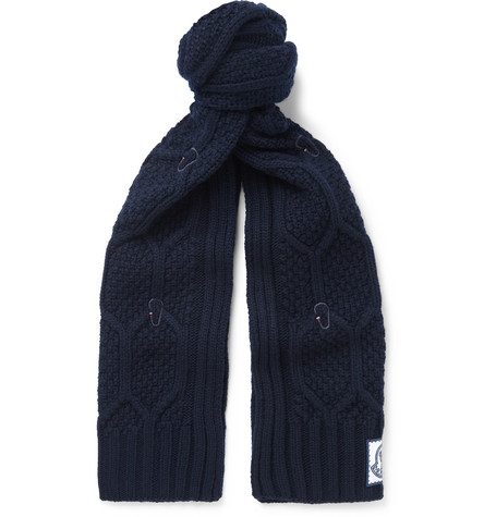 Moncler Gamme Bleu Cable-Knit Virgin Wool Scarf In Navy