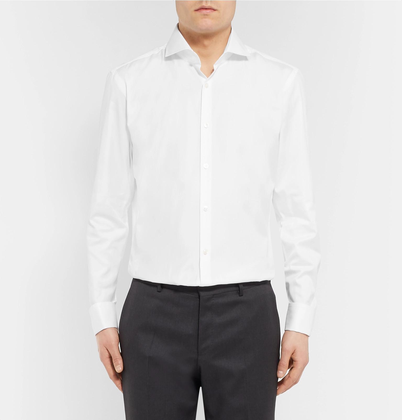 3315594d Hugo Boss - White Jaiden Slim-Fit Double-Cuff Cotton-Twill Shirt