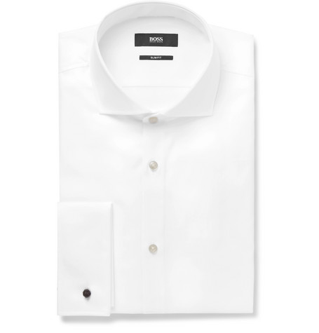 White Jaiden Slim-fit Double-cuff Cotton-twill Shirt - White