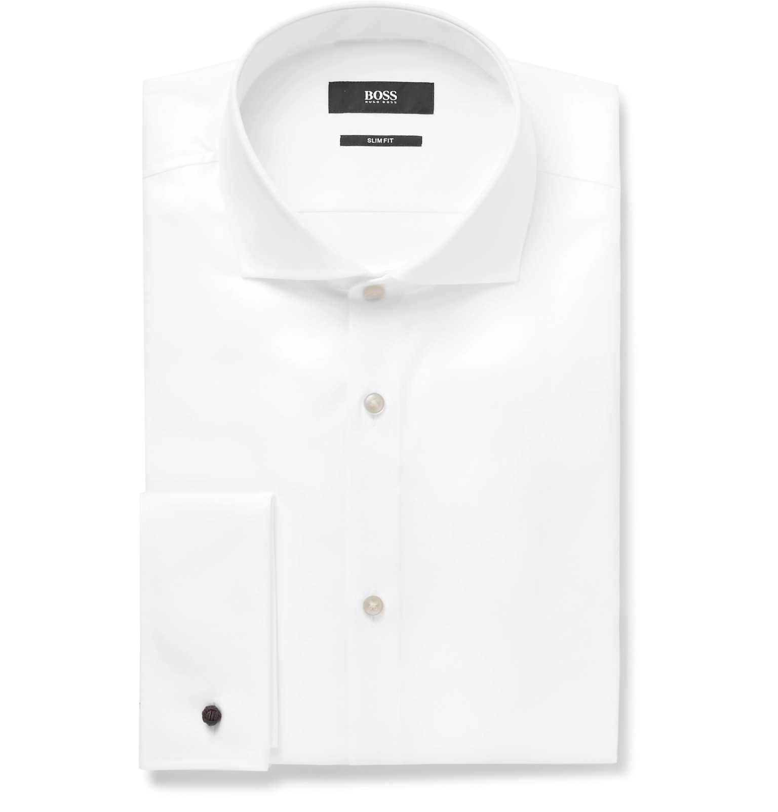 HUGO BOSS White Jaiden Slim-fit Double-cuff Cotton-twill Shirt - White For Cheap Sale Online Sast Online 9Y1Ae6Ks
