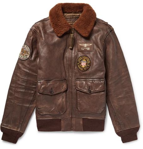 G1 Appliquéd Shearling-trimmed Distressed Leather Bomber Jacket - Dark brown