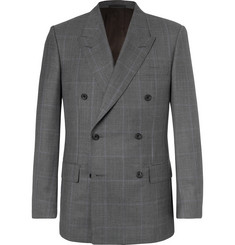 Kingsman Harry's Grey Double-Breasted Prince Of Wales Checked Wool Suit Jacket