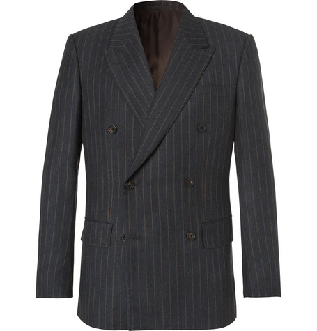 Kingsman Eggsy's Charcoal Double-breasted Chalk-striped Wool Suit Jacket - Charcoal
