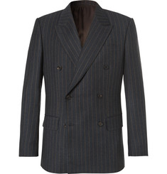 Kingsman Eggsy's Charcoal Double-Breasted Chalk-Striped Wool Suit Jacket