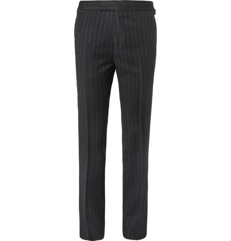 Kingsman Eggsy's Charcoal Chalk-striped Wool Suit Trousers