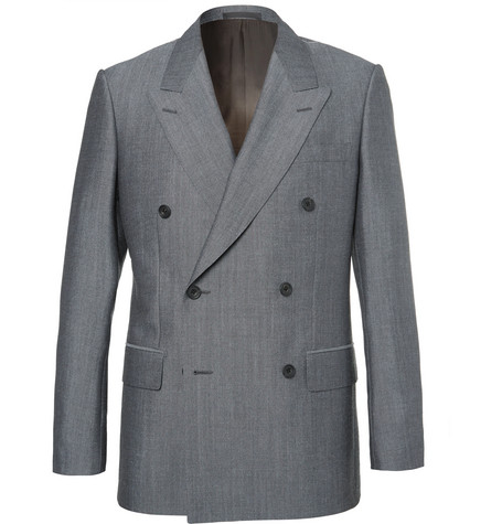 Kingsman Eggsy's Grey Double-breasted Wool And Mohair-blend Suit Jacket - Gray