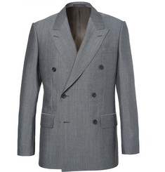Kingsman-Eggsy's Grey Double-Breasted Wool and Mohair-Blend Suit Jacket