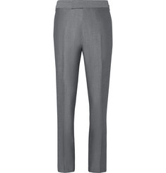 Kingsman-Eggsy's Grey Wool and Mohair-Blend Suit Trousers