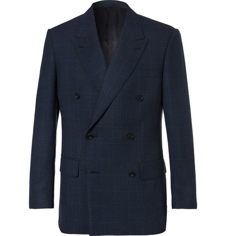 Kingsman Arthur's Navy Double-breasted Checked Suit Jacket - Navy