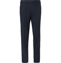 Kingsman - Arthur's Navy Checked Wool Suit Trousers