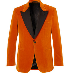 Kingsman Eggsy's Orange Faille-Trimmed Cotton-Velvet Tuxedo Jacket