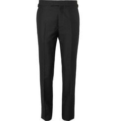 Kingsman-Eggsy's Black Wool and Mohair-Blend Tuxedo Trousers