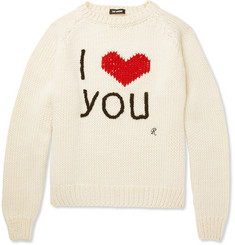 Raf Simons I Love You Intarsia Wool Sweater
