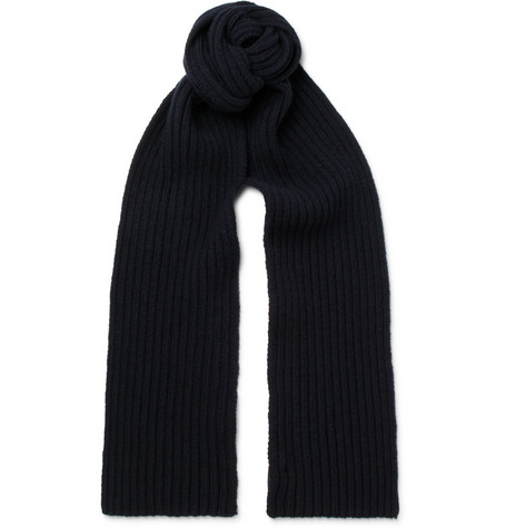 A.P.C. Ribbed Wool And Cashmere-Blend Scarf In Navy