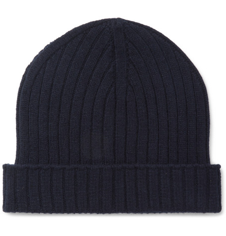 A.P.C. Ribbed Wool Beanie In Navy