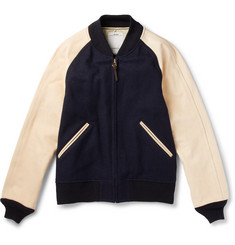 visvim - Leather-Panelled Wool and Linen-Blend Bomber Jacket