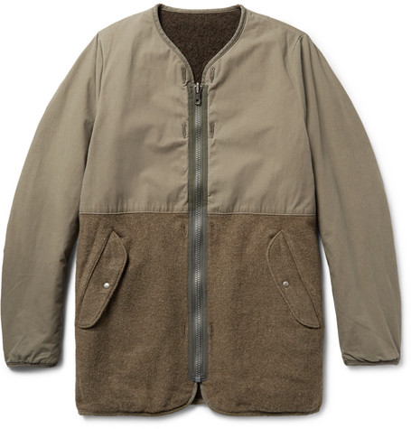 Visvim Longliner Reversible Cotton-Canvas And Wool-Blend Jacket - Army Green