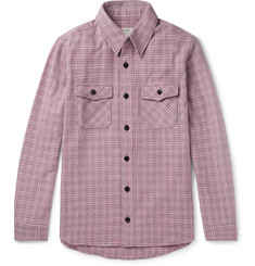 visvim Black Elk Checked Wool, Linen and Silk-Blend Flannel Shirt
