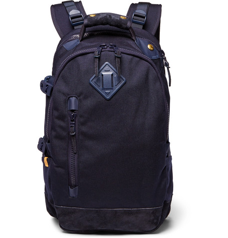 Suede-trimmed Cordura Nylon Backpack - Navy