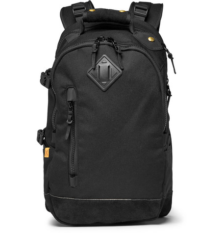 Suede-trimmed Nylon Backpack - Black