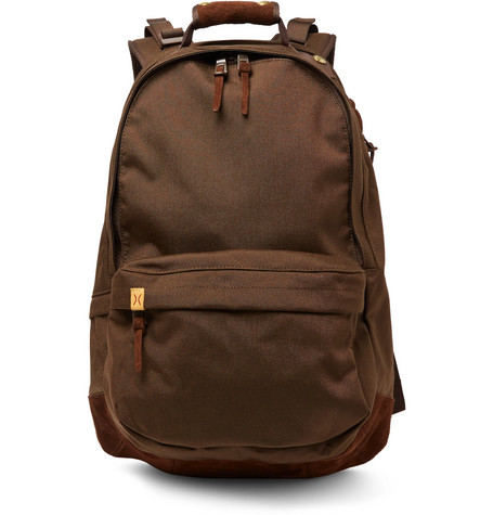 Suede-trimmed Cordura Backpack - Brown