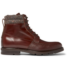 WANT LES ESSENTIELS Kloten Polished and Pebble-Grain Leather Boots