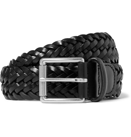 3.5cm Black Woven Leather Belt by Anderson's
