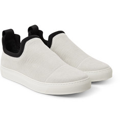 James Perse - Zuma Neoprene-Trimmed Brushed-Canvas Slip-On Sneakers