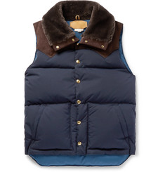 Kingsman + Rocky Mountain Featherbed Suede and Shearling-Trimmed Quilted Faille Down Gilet