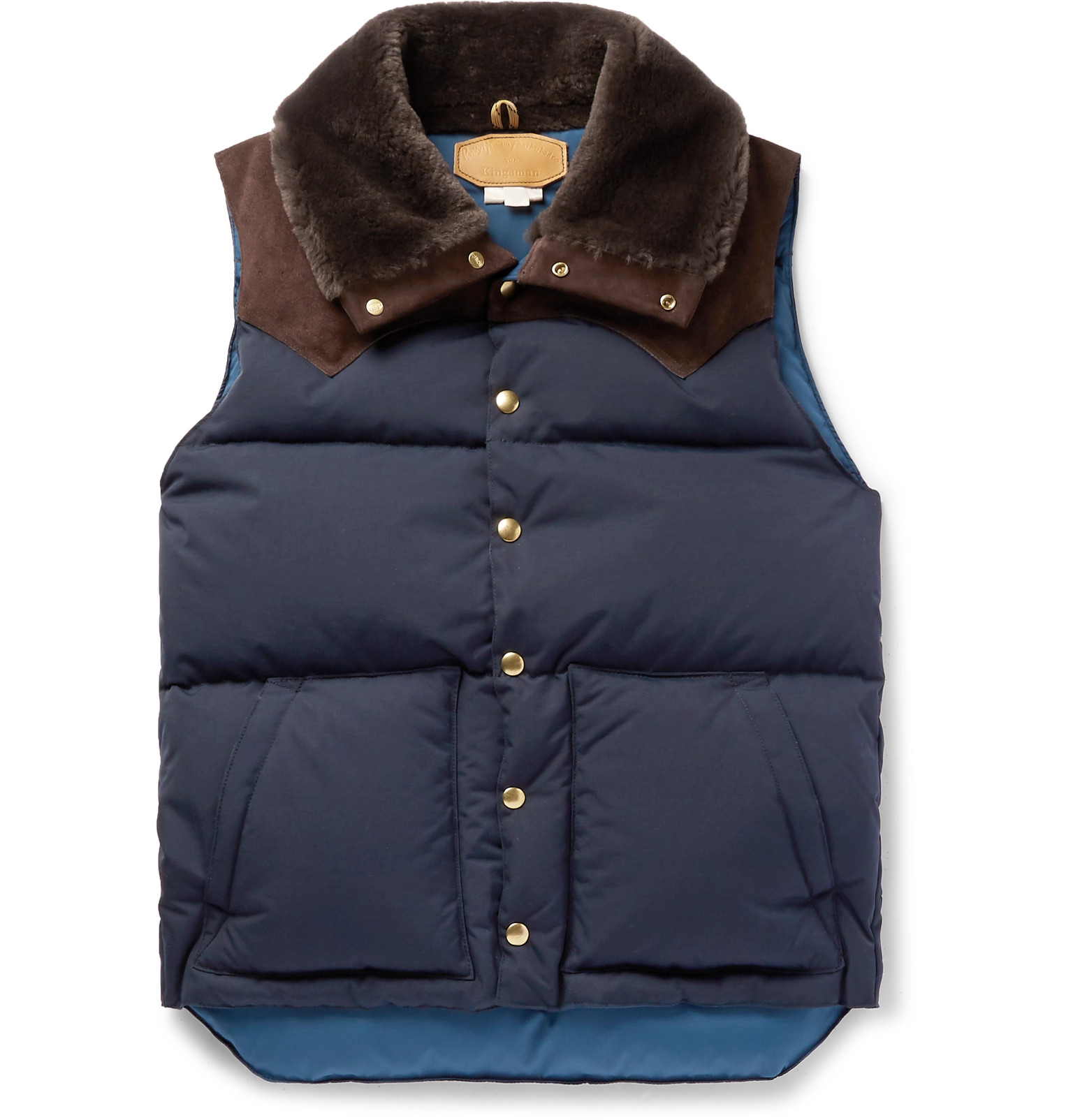 32de975e34 Kingsman + Rocky Mountain Featherbed Suede and Shearling-Trimmed Quilted  Faille Down Gilet