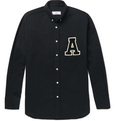 AMI Button-Down Collar Appliquéd Cotton Oxford Shirt