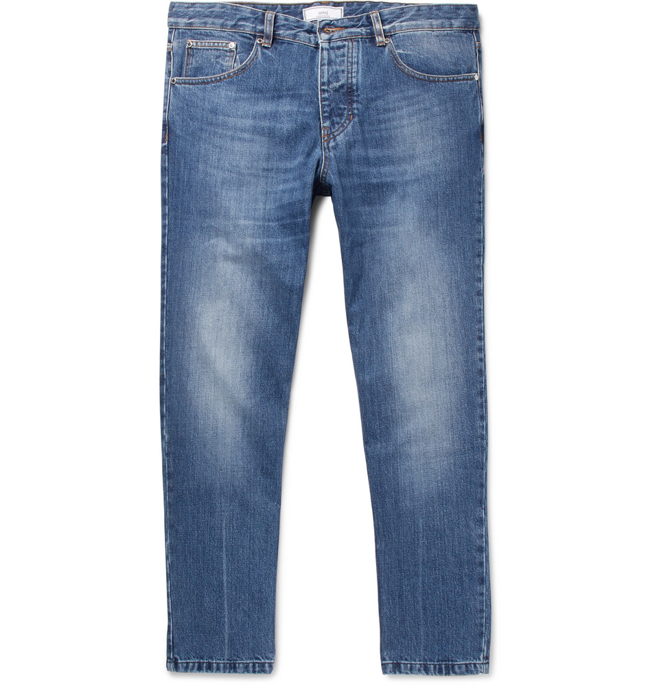 Tapered Cropped Denim Jeans - Blue
