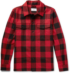 AMI Buffalo Checked Brushed Virgin Wool-Twill Overshirt
