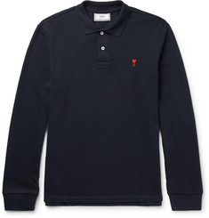 AMI Slim-Fit Embroidered Cotton-Piqué Polo Shirt
