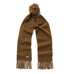 AMI Fringed Embroidered Wool Scarf