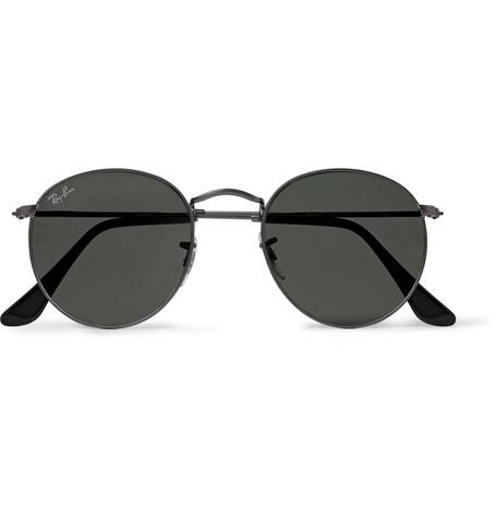 41df1c27c8 Ray-Ban - Round-Frame Gunmetal-Tone Sunglasses