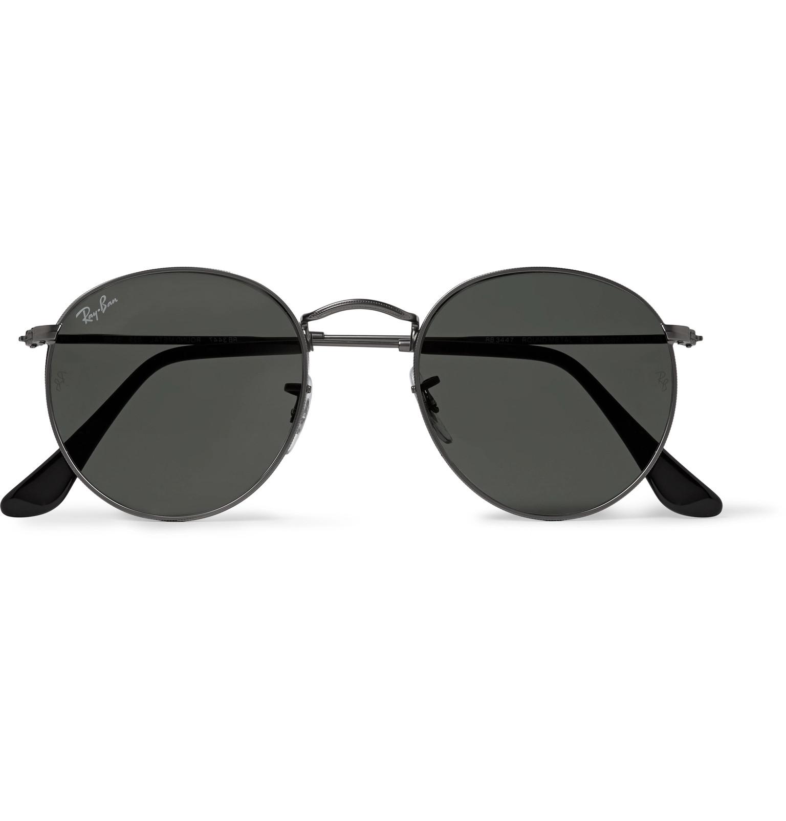 99feb79c94ff Ray-Ban - Round-Frame Gunmetal-Tone Sunglasses