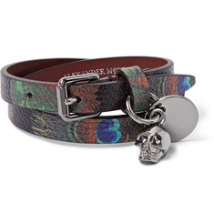 Alexander McQueen Peacock Feather-Print Leather Wrap Bracelet