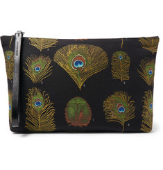 Alexander McQueen Peacock Feather Leather-Trimmed Jacquard Pouch