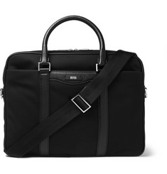 Hugo Boss - Cross-Grain Leather-Trimmed Canvas Briefcase