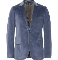 Paul Smith Blue Slim-Fit Stretch Cotton-Velvet Blazer