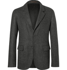 Caruso Grey Butterfly Slim-Fit Unstructured Camel Hair Blazer