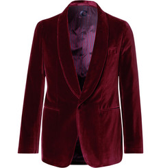 Caruso - Burgundy Butterfly Slim-Fit Unstructured Velvet Tuxedo Jacket
