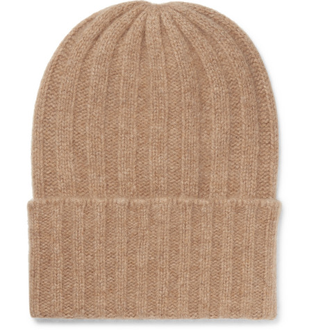 Short Bunny Echo Ribbed Cashmere Beanie - Camel