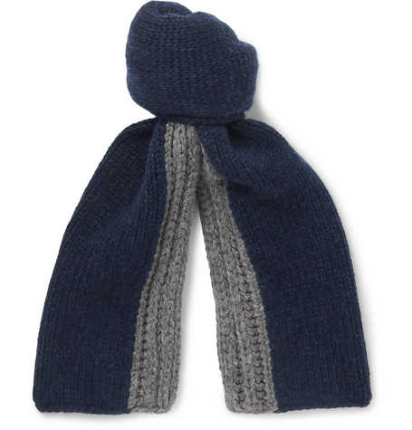 Loro Piana Denver Two-Tone Ribbed Cashmere Scarf In Blue